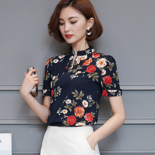 678 Season New Temperament Printed Stand Collar Short-sleeved Shirt Loose Floral Chiffon Shirt
