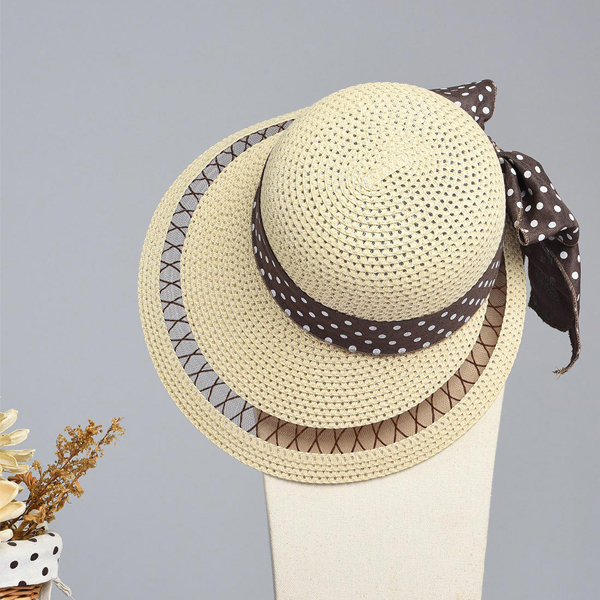LYZA Women Summer Breathable Wide Brim Straw Hat Casual Visor Panama Beach Hat