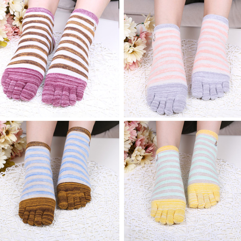 Ladies Five Toes Socks Simple Fashion Cotton Striped 4-Pair Set Ankle Toe Socks