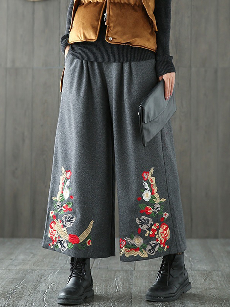 Vintage Women Embroidery Loose Elastic Waist Wide Leg Pants
