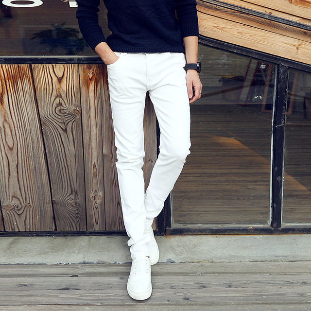 Association Association Youth Business White Jeans Men's White Pants Slim Stretch Men's Pants Tights Large Size White