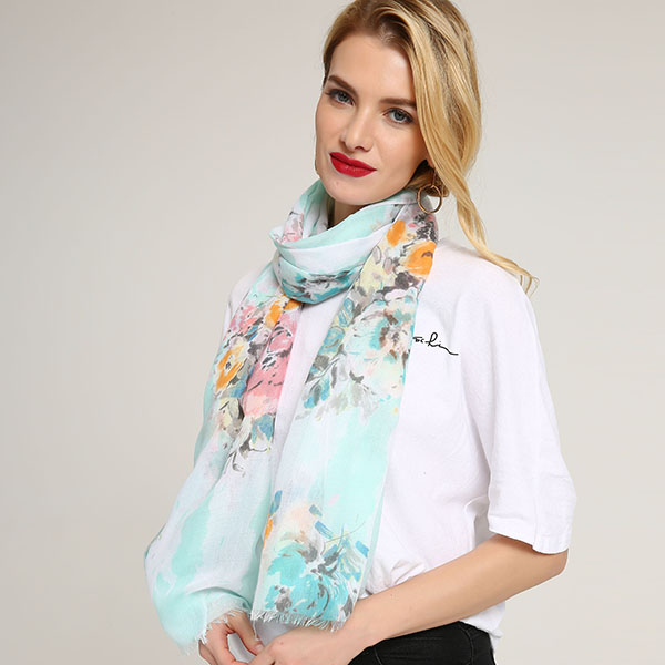Linen Lightweight Peony Chiness Watercolor Painting Scarf Summer Breathable Flower Shawl For Women