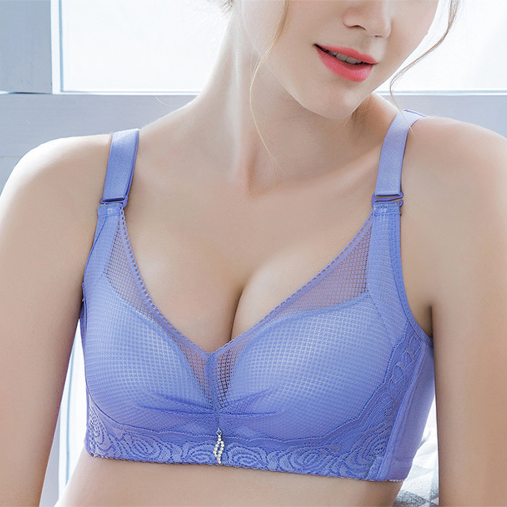 Lace Embroidery Mesh Gather Breathable Plunge Wireless Bra