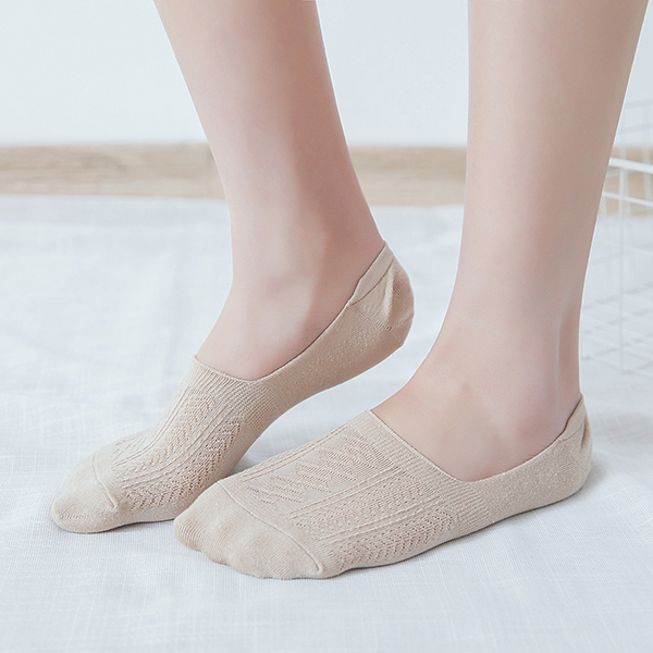 Lady Girls Cotton Soft Invisible Boat Socks Good Elastic Antiskid Casual Socks