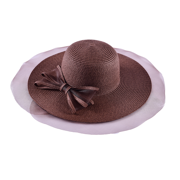 LYZA Women Wide Brim Straw Beach Hat Summer Outdoor Sunshade Visor Bucket Caps