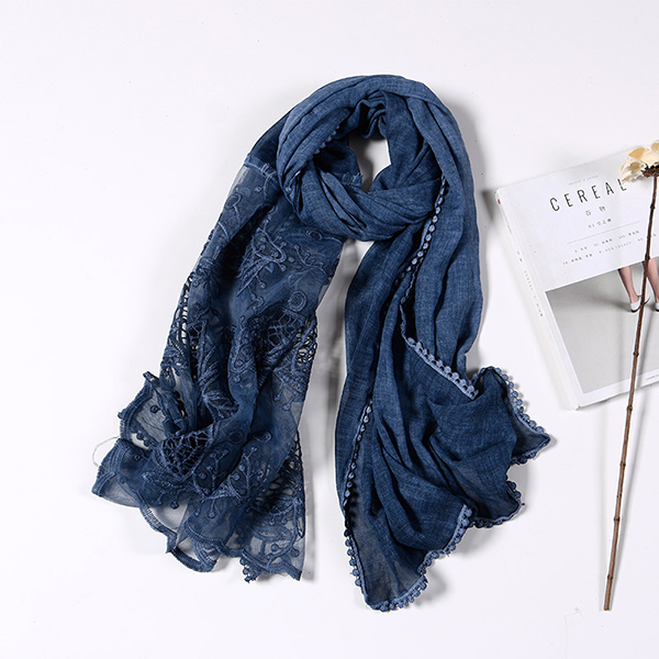 190CM Women Vintage Hollow Scarf Shawl Casual Cotton Lightweight Warm Scarves