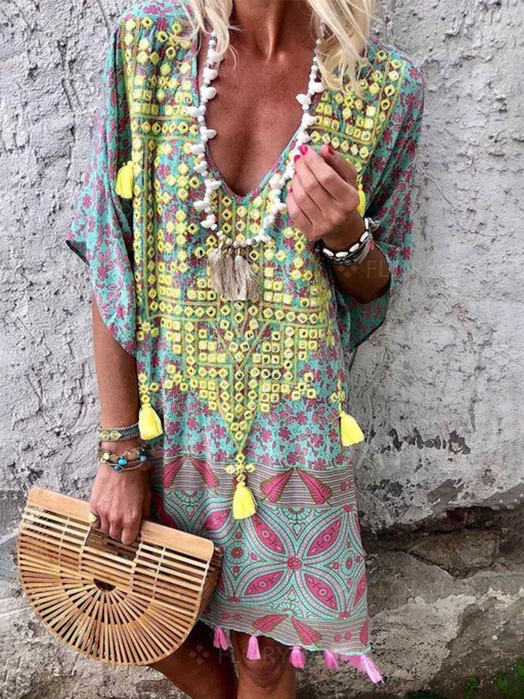Bohemian Floral Tassel V Neck Half Sleeve Casual Dress