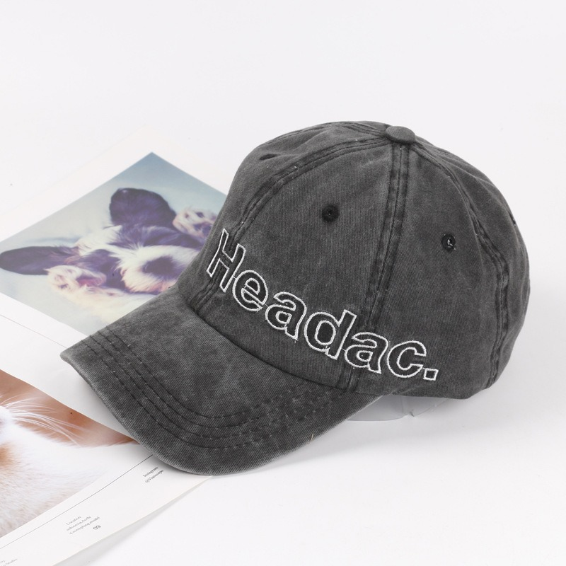 Letter Embroidered Washed Denim Baseball Cap Men Women Street Outdoor Visor Cap