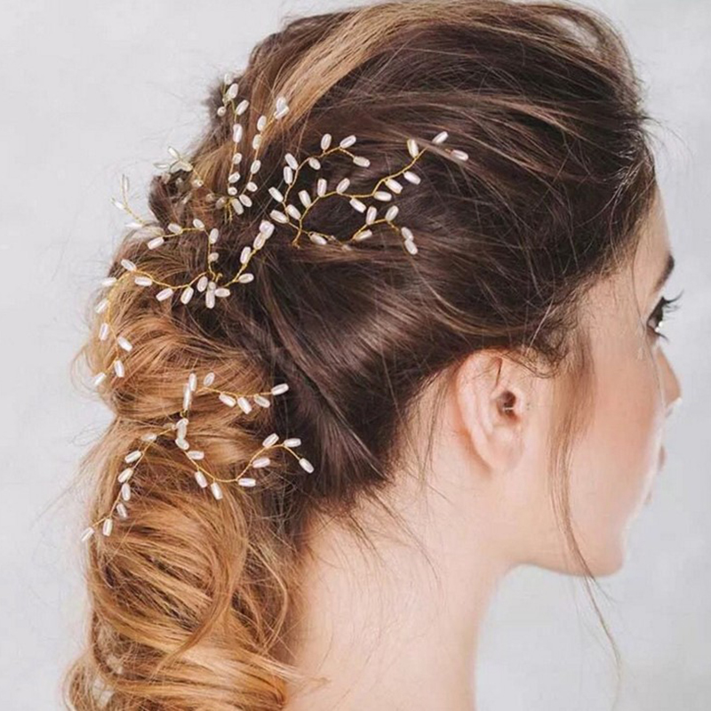Gold Plated Alloy Pearl Hairclip Handmade Bride Hairpin Hair Accessories for Women