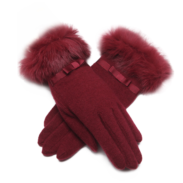 LYZA Women Autumn Warm Wool Full Fingers Gloves Winter Travel Elegant Gloves