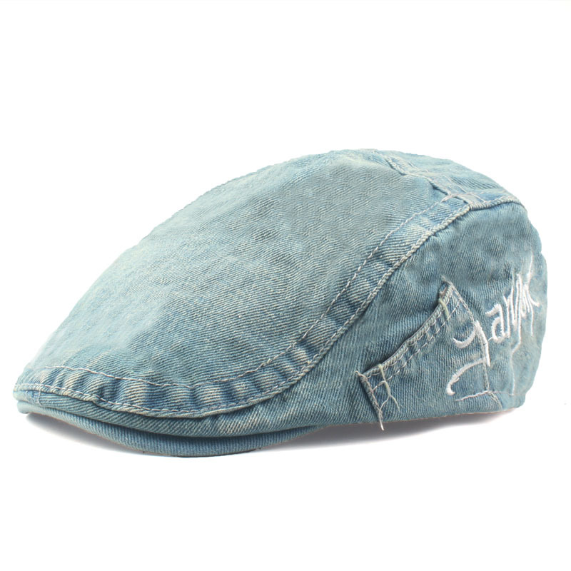 Leisure Washed Denim Adjustable Beret Hat Men Women Letter Embroidered Peaked Caps