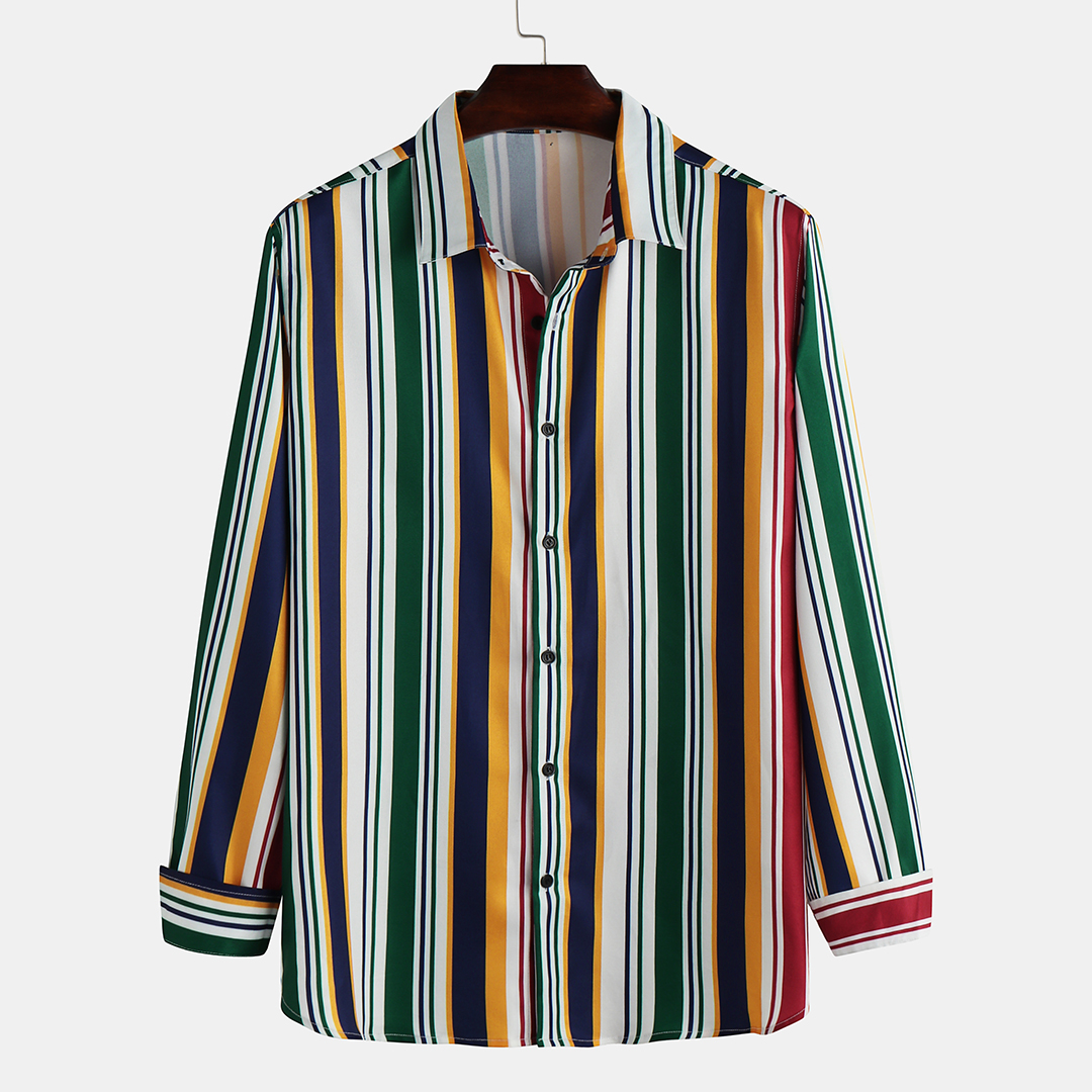 Autumn Mens Colorful Stripe Long Sleeve Casual Shirts