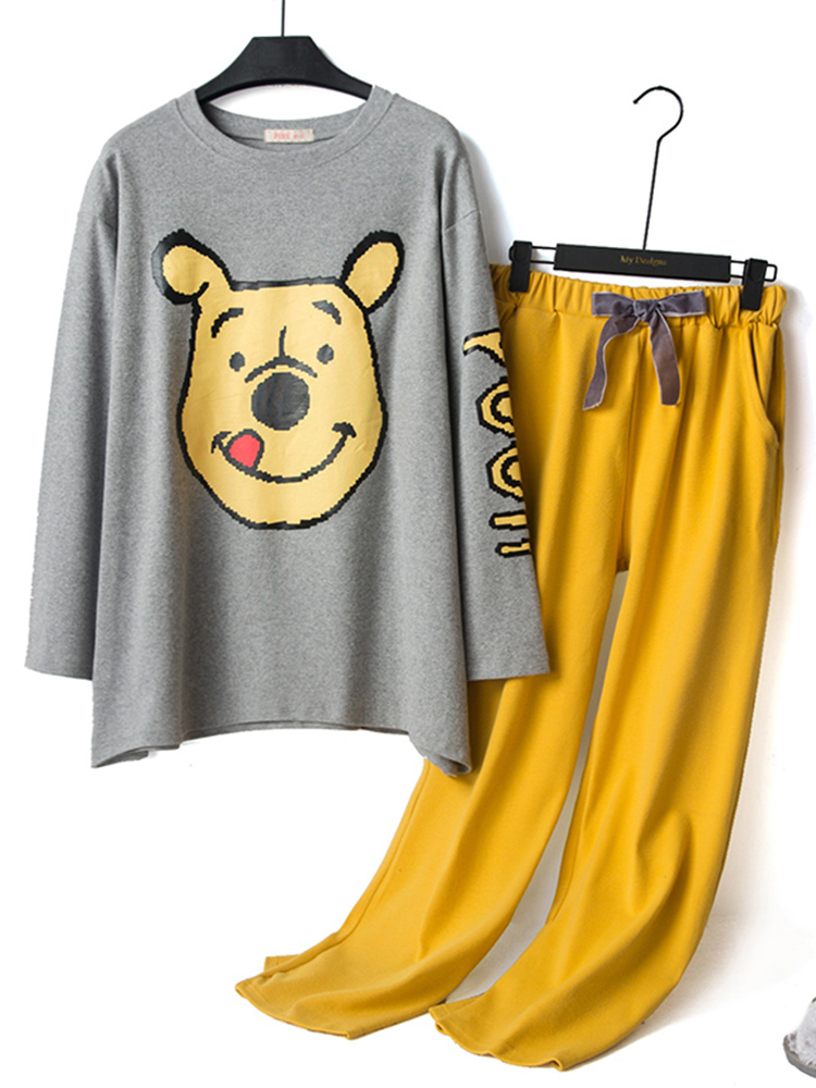 Autumn Cartoon Bear Printing Thin Flannel Overhead Long Sleeve Pajama Set
