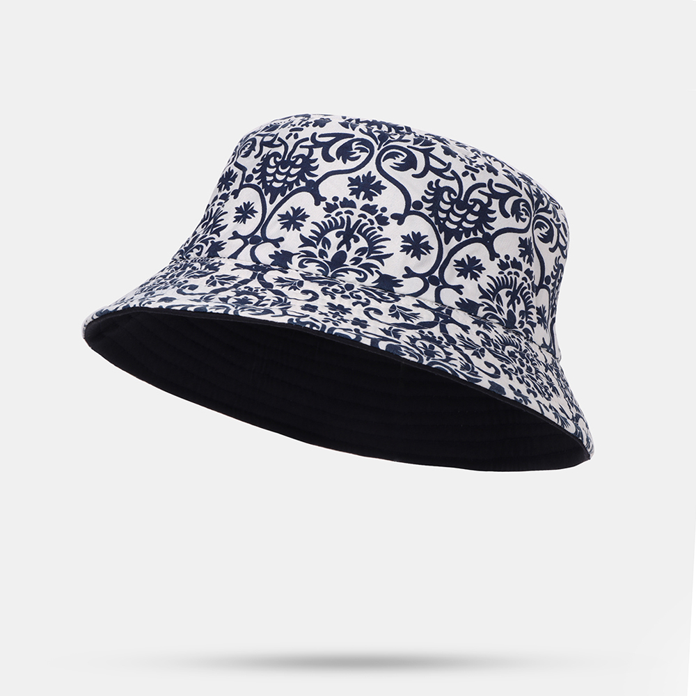 Chinese Style Blue And White Porcelain Bucket Hat Double-faced Cap