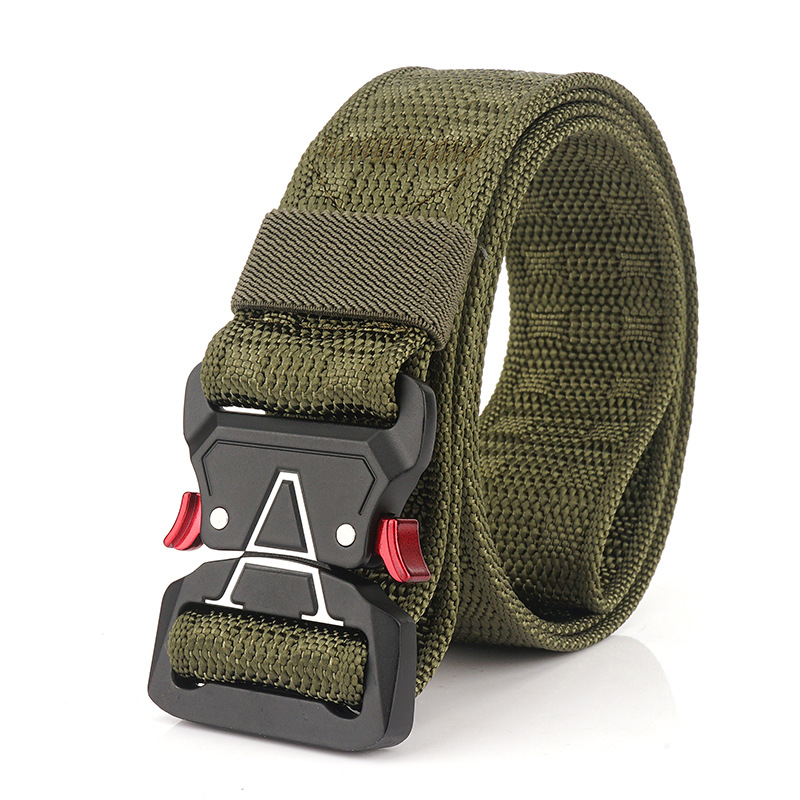 125cm Men 3.8cm Width Nylon Waist Belts Tactical Belt Quick Release Inserting Buckle Waist Belt