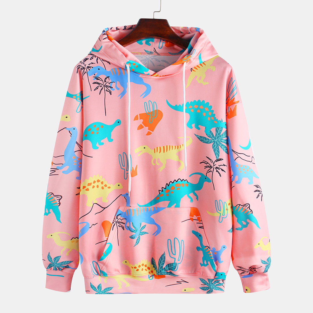 Autumn Dinasaur Printing Hooded Long Sleeve Casual Sweatshirt