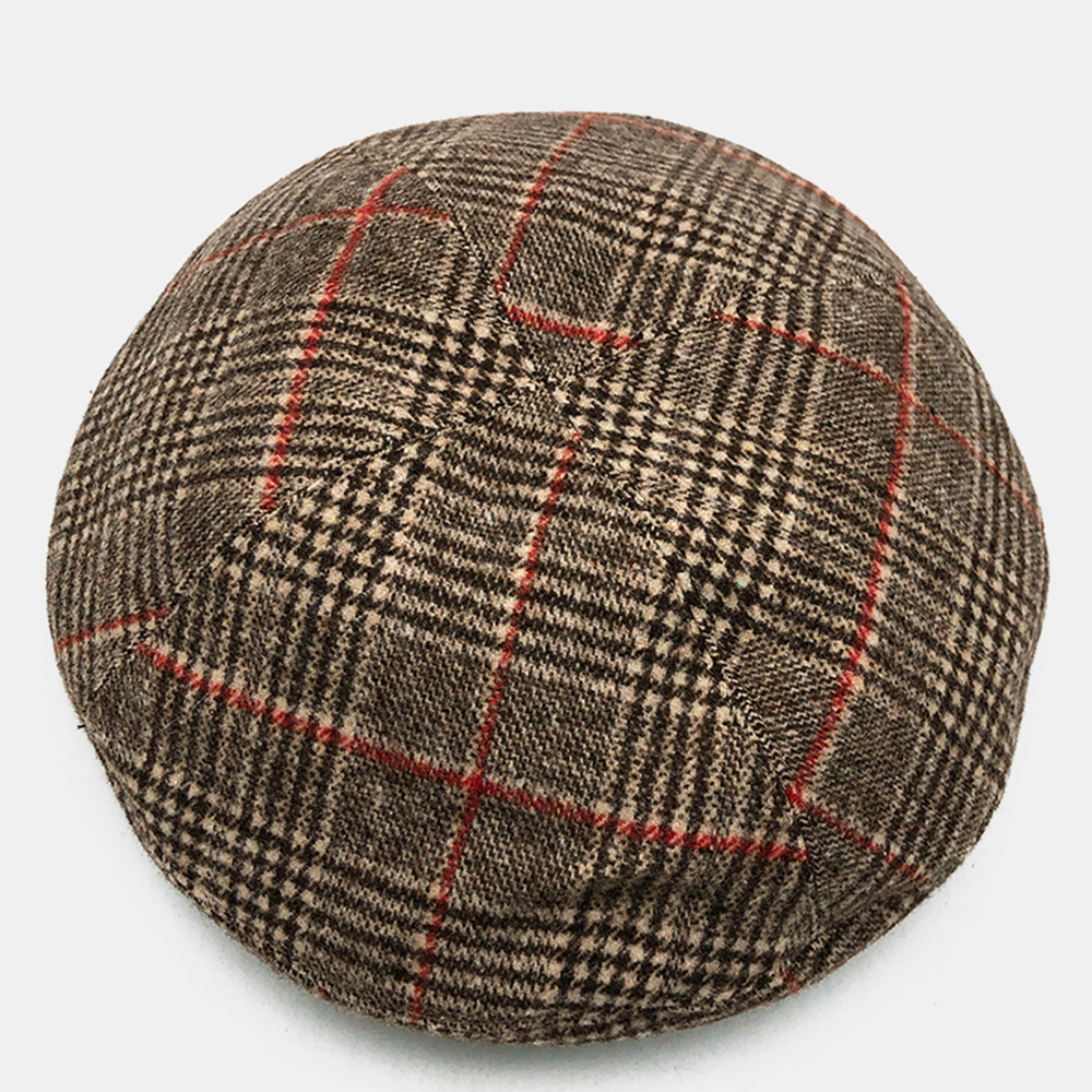 Brown Striped Plaid Beret Fashion Plush Warm Hat Beret Caps