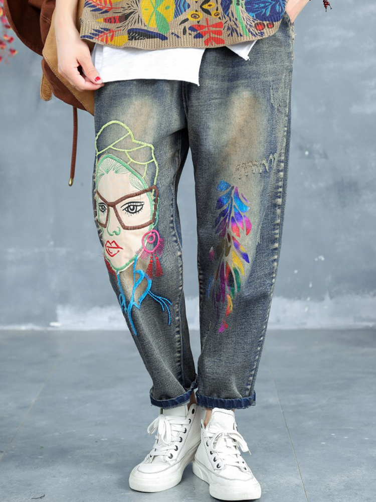 Cartoon Embroidered Elastic Waist Ripped Jeans For Women