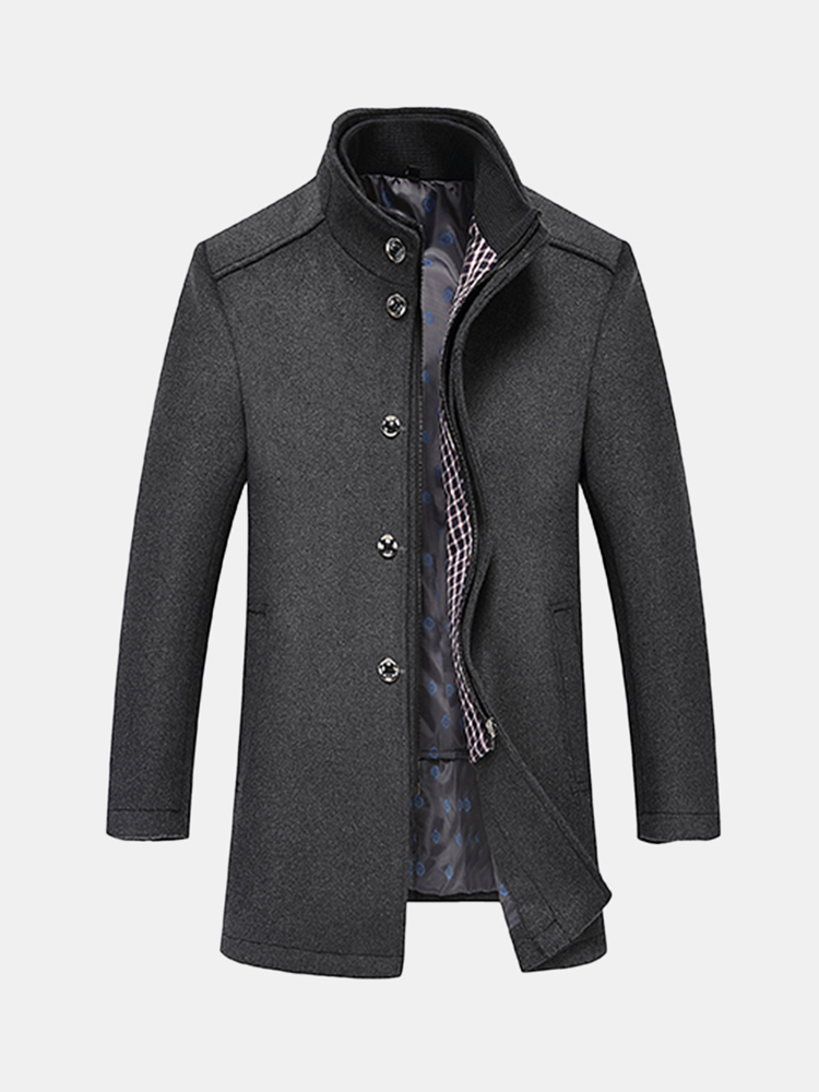 2 in 1 Detachable Zipper Vest Thick Printing Lining Mid Long Woolen Coats for Men