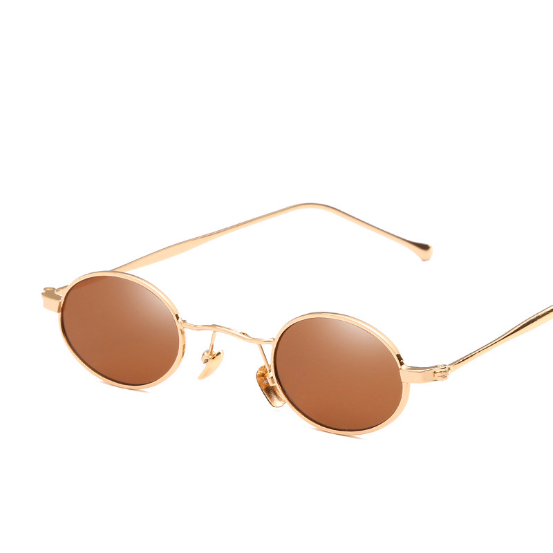 High-definition Visual UV 400 Protection Easy to Clean Small Round Frame Metal Sunglasses