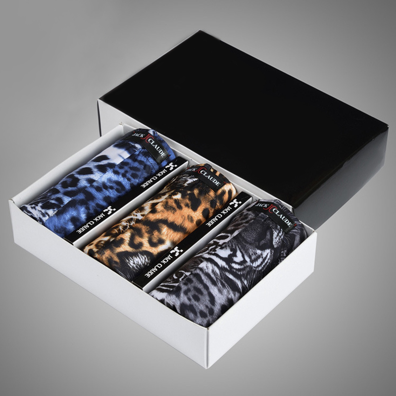 3 Pieces Leopard Smooth Mens Ice Silk Underwear Boxer Briefs With Pouch