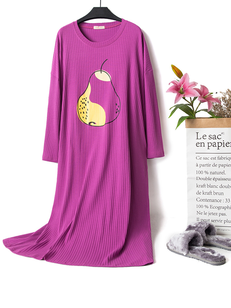Cartoon Pattern Printed Cotton Loose Casual Long Sleeve Nightgown