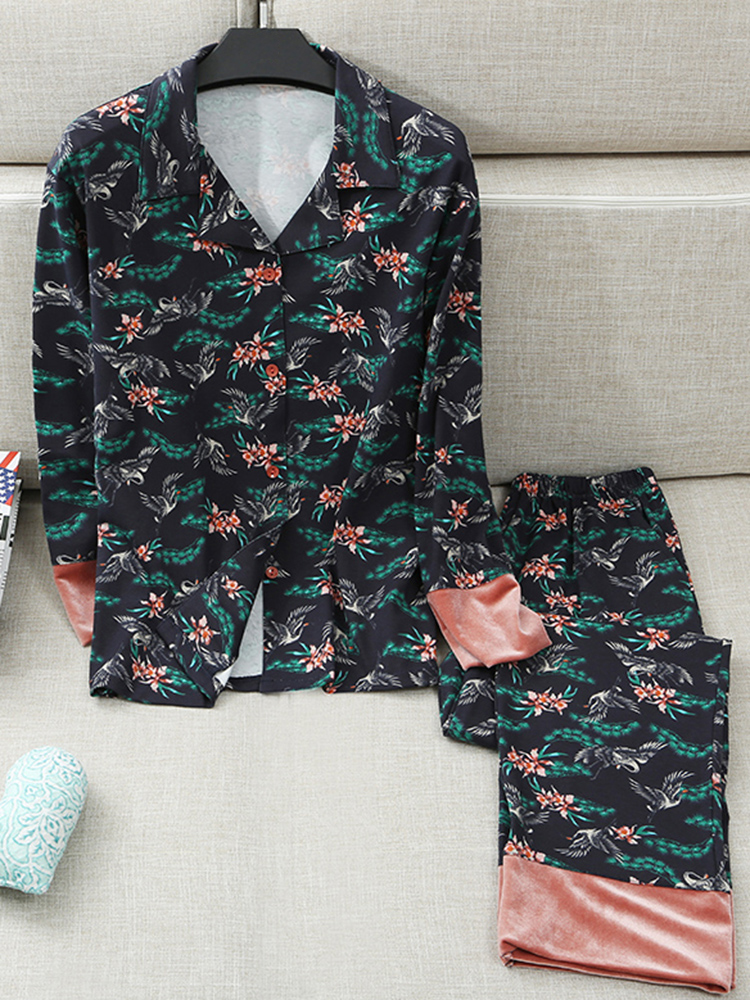 Cotton Crane Printing Casual Long Sleeve Shirt Pajama Set