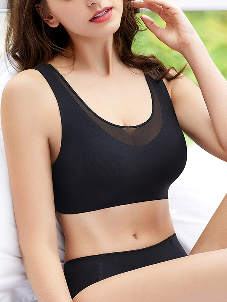 Ice Silk Seamless Wireless Strappy Vest Type Sport Yoga Bra