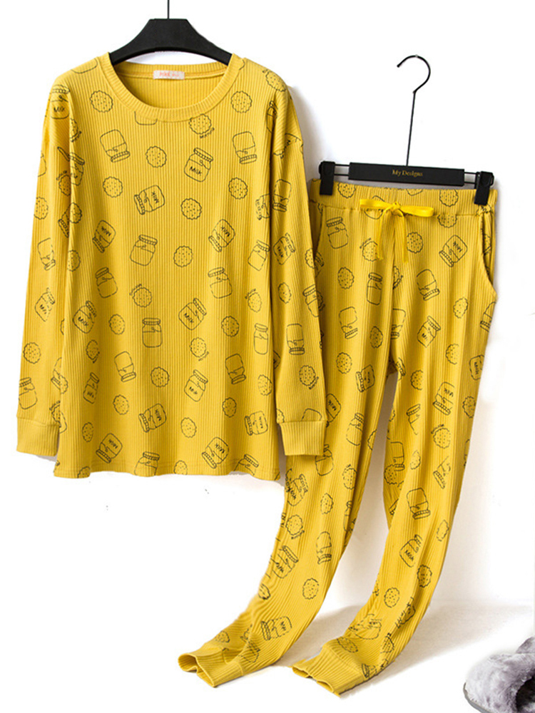 Autumn Home Milk Pattern Printing Overhead Long Sleeve Pajama Set