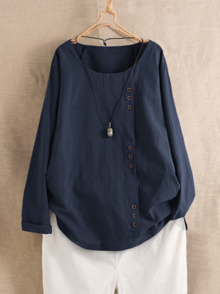 Button Long Sleeve Solid Color Casual Blouse