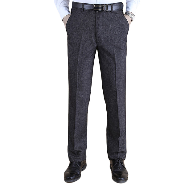 Autumn Winter Thick Straight Business High Waisted Trousers Men's Casual Suit Pants